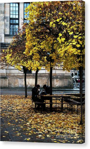 Canvas Print featuring the photograph Yellow Lunch by Ana Mireles
