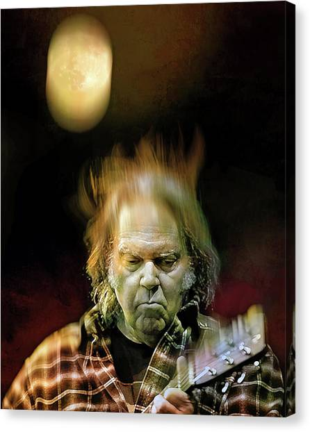 Neil Young Canvas Print - Yellow Moon On The Rise by Mal Bray