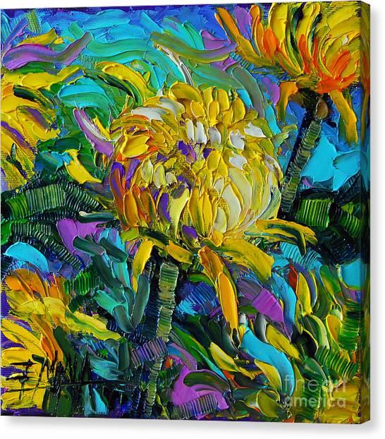 Post-modern Art Canvas Print - Yellow Mums by Mona Edulesco