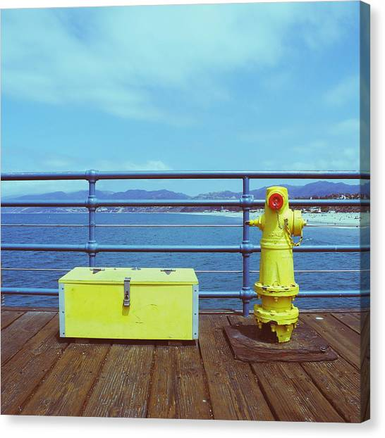 Santa Monica Pier Canvas Print - Yellow Objects by Robert Ceccon