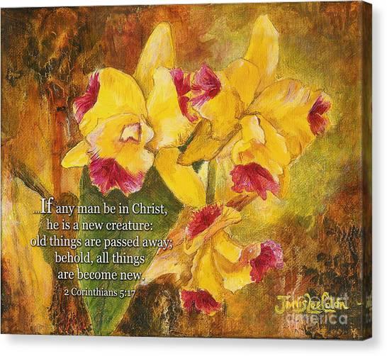 Yellow Orchids Acrylic 2 Cor 5 Canvas Print