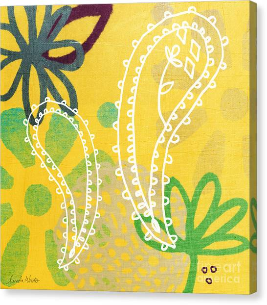 Indians Canvas Print - Yellow Paisley Garden by Linda Woods