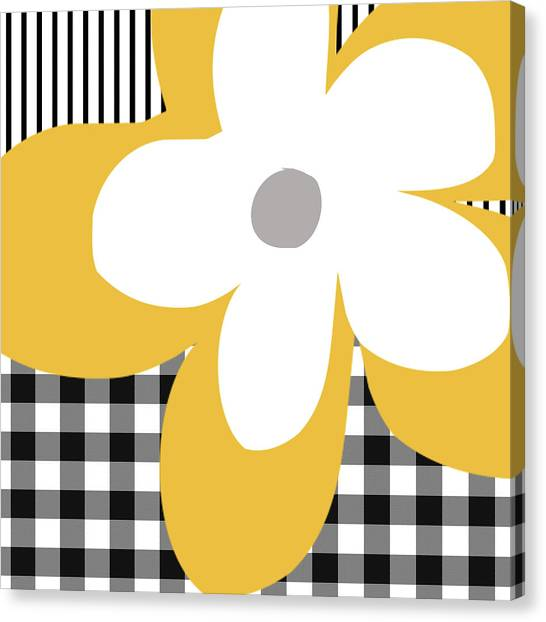 Stripe Canvas Print - Yellow Picnic Flower- Art By Linda Woods by Linda Woods