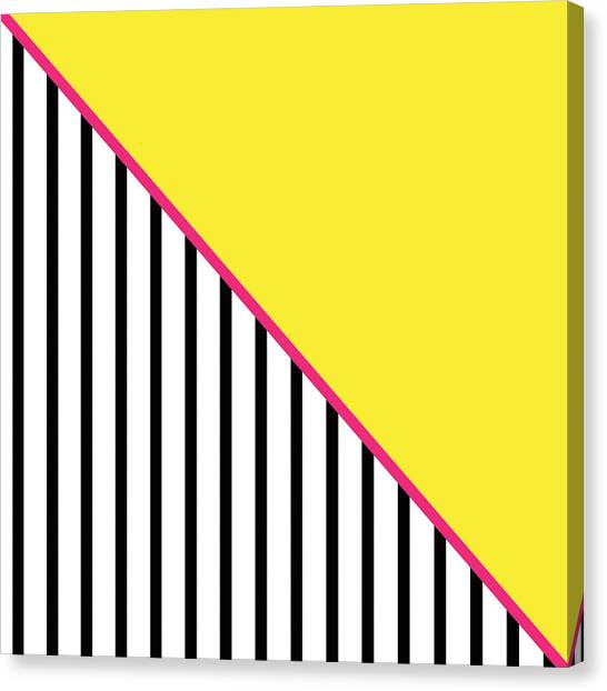 Canaries Canvas Print - Yellow Pink And Black Geometric by Linda Woods