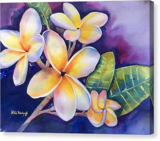 Yellow Plumeria Flowers Canvas Print