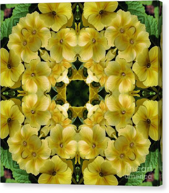 Yellow Primrose Kaleidoscope Canvas Print