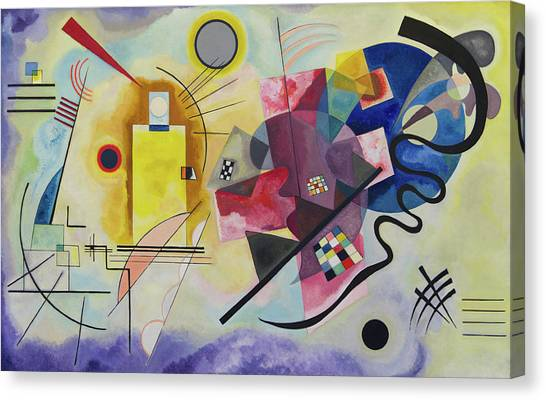 f0b2e336759 Canvas Print featuring the painting Yellow-red-blue by Wassily Kandinsky