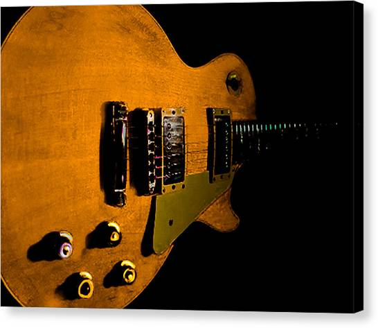 Yellow Relic Guitar Hover Series Canvas Print