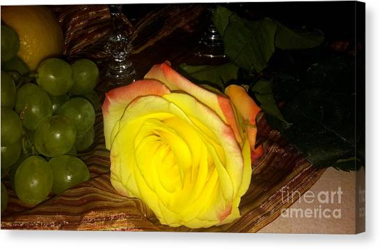 Yellow Rose And Grapes Canvas Print
