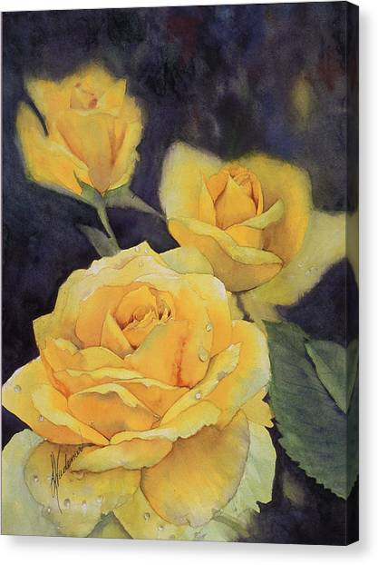 Yellow Rose Canvas Print by Leah Wiedemer