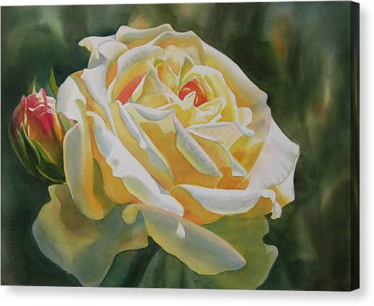 Watercolor Rose Canvas Print - Yellow Rose With Bud by Sharon Freeman