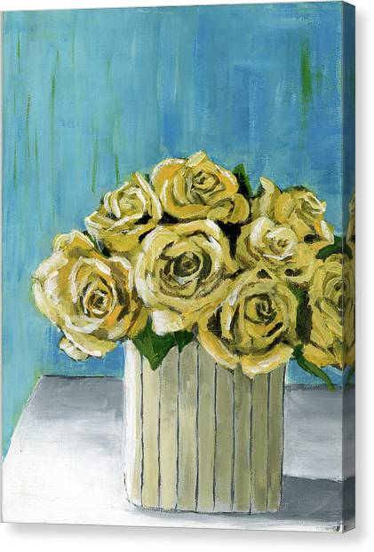 Yellow Roses In Vase Canvas Print