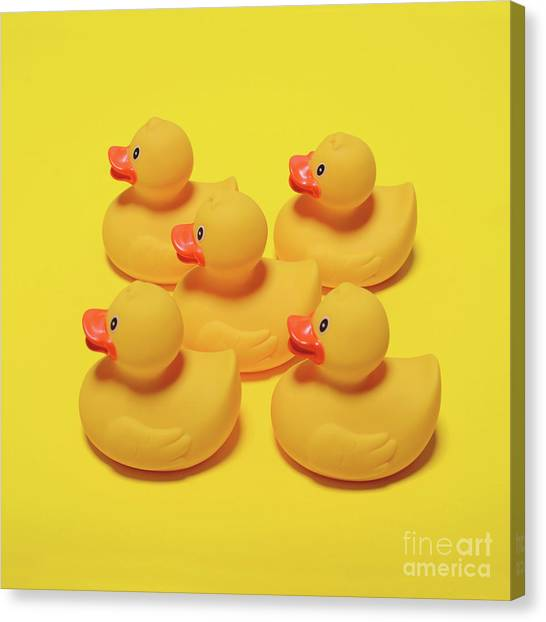 Pop Canvas Print - Yellow Rubber Ducks On Yellow Background - Minimal Design by Aleksandar Mijatovic