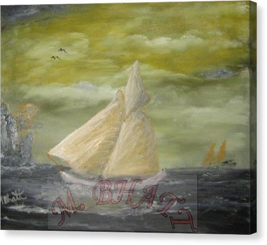 Yellow Sail Boat Canvas Print by M Bhatt