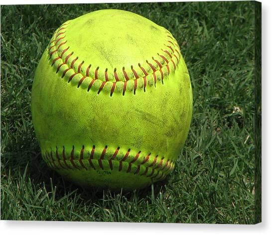 Softball Canvas Print - Yellow Softball by Carrie Munoz