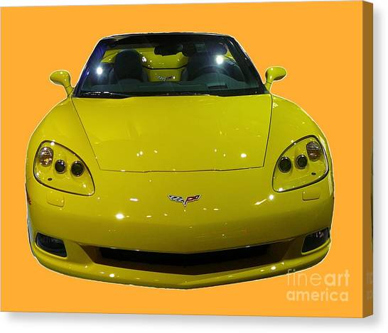 Yellow Sports Car Front Canvas Print