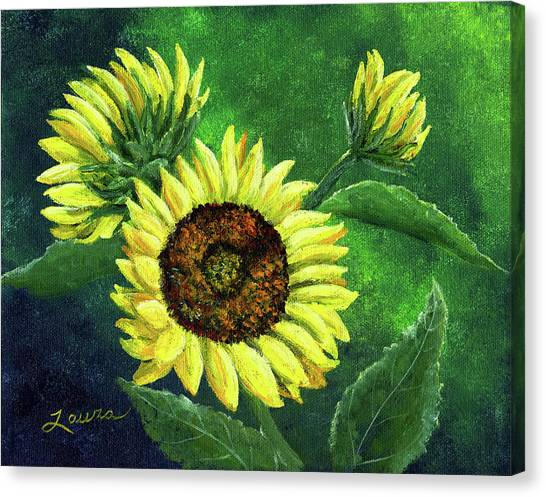 Yellow Sunflowers On Green Canvas Print by Laura Iverson