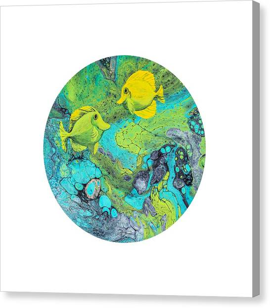 Canvas Print featuring the painting Yellow Tang On White by Darice Machel McGuire
