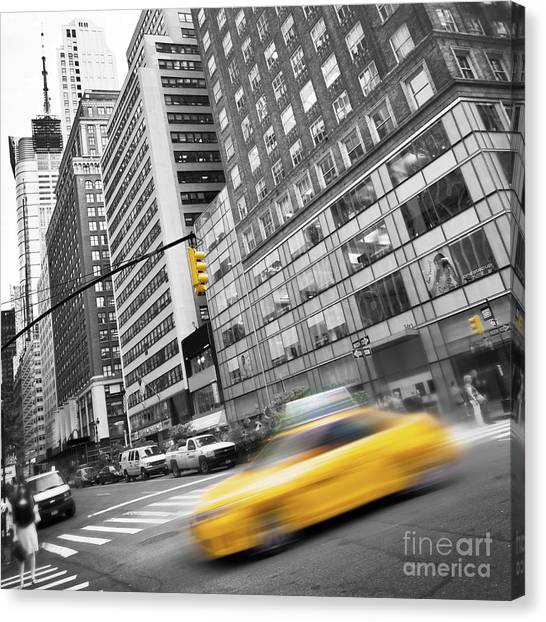 New York City Taxi Canvas Print - Yellow Taxi Nyc by Delphimages Photo Creations