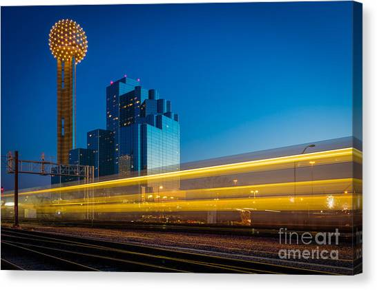Light Rail Canvas Print - Yellow Trail by Inge Johnsson