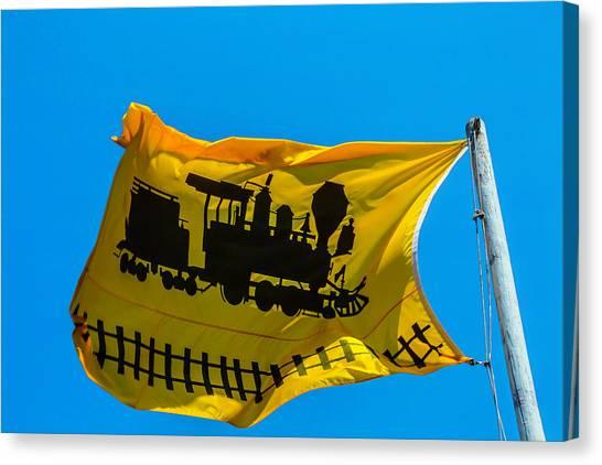 Gay Flag Canvas Print - Yellow Train Flag by Garry Gay
