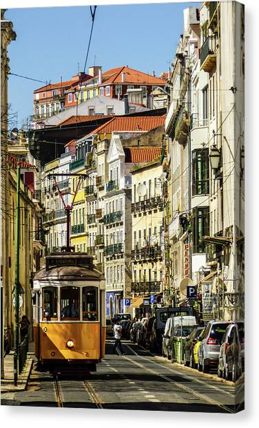 Yellow Tram In Downtown Lisbon, Portugal Canvas Print