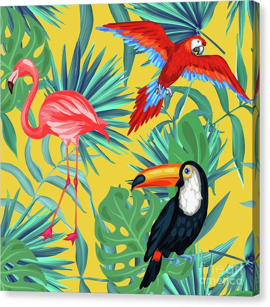 Flamingos Canvas Print - Yellow Tropic  by Mark Ashkenazi