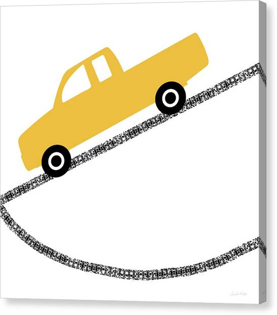 Trucks Canvas Print - Yellow Truck On Road- Art By Linda Woods by Linda Woods
