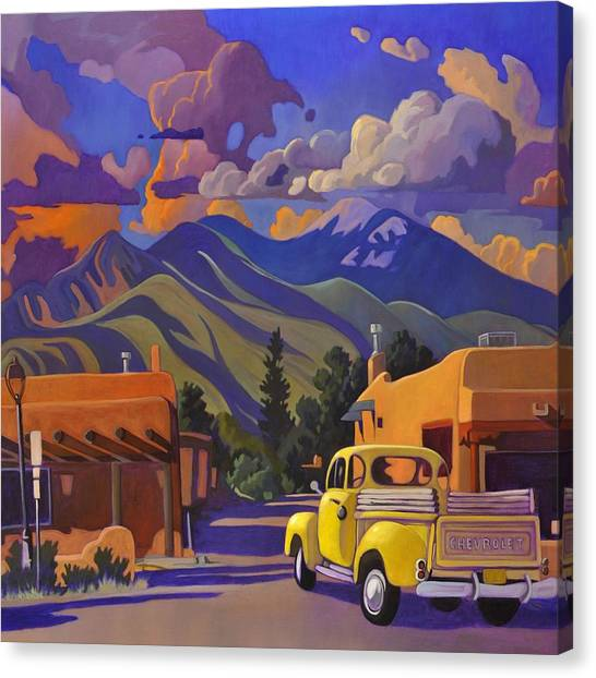 Yellow Truck Square Canvas Print