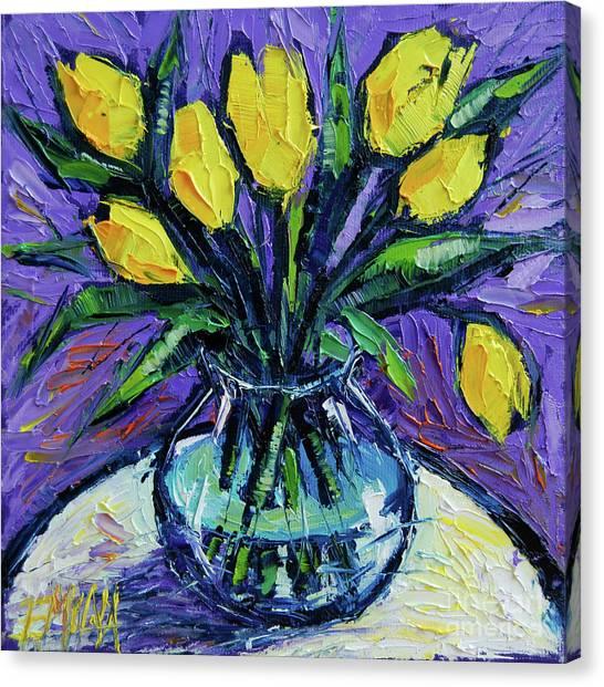 Post-modern Art Canvas Print - Yellow Tulips On White Table - Impasto Etude by Mona Edulesco