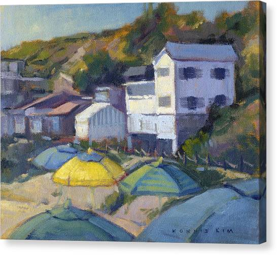 Canvas Print featuring the painting Yellow Umbrella  by Konnie Kim