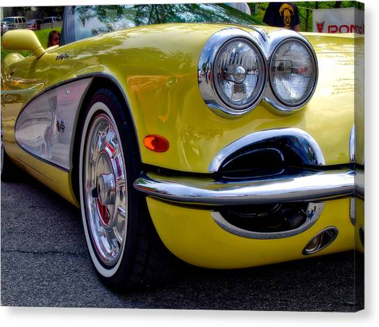 Yellow Vette Canvas Print