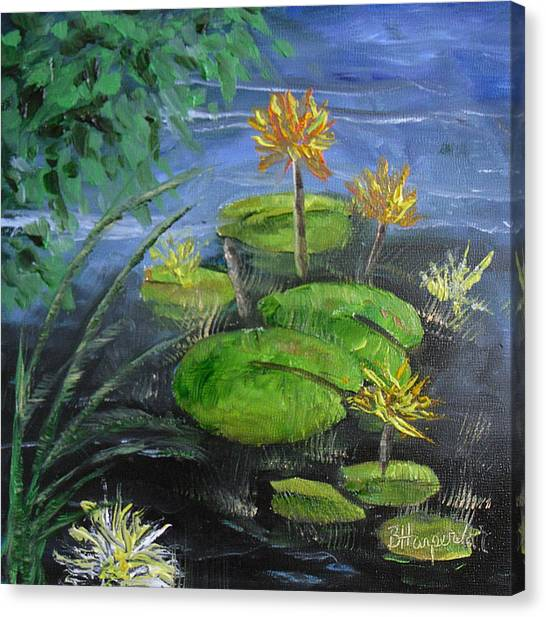 Yellow Water Lilies Canvas Print by Barbara Harper