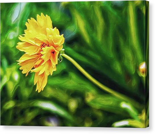 Canvas Print featuring the digital art Yellow Wave by Doctor Mehta