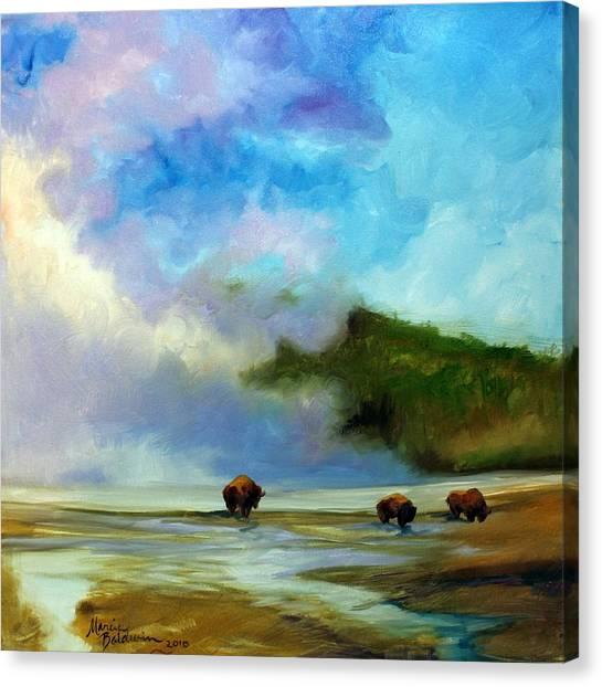 Yellowstone Buffalo Canvas Print by Marcia Baldwin