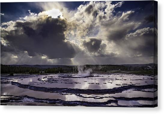Yellowstone Geysers And Hot Springs Canvas Print