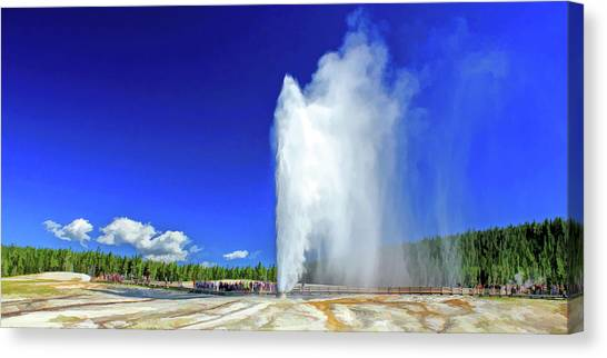 Canvas Print featuring the painting Yellowstone National Park Beehive Geyser by Christopher Arndt