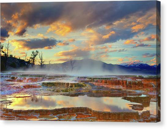 Yellowstone National Park Canvas Print - Yellowstone National Park-mammoth Hot Springs by Kevin McNeal