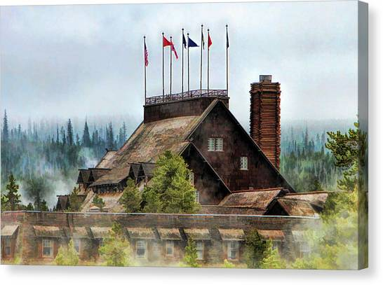Canvas Print featuring the painting Yellowstone National Park Old Faithful Inn by Christopher Arndt