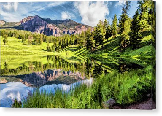 Canvas Print featuring the painting Yellowstone National Park Trout Lake by Christopher Arndt