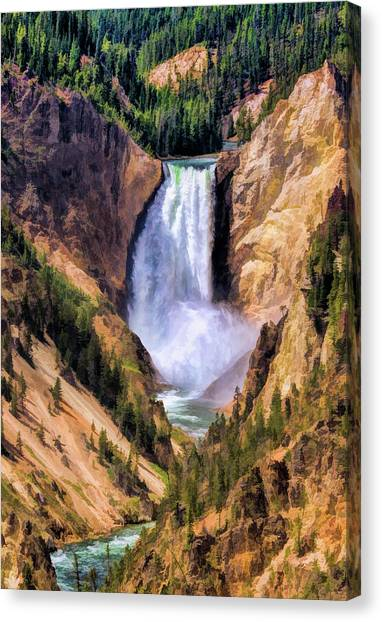 Canvas Print featuring the painting Yellowstone National Park Upper Falls by Christopher Arndt
