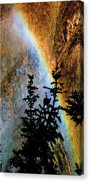 Canvas Print featuring the photograph Yellowstone Rainbow by Norman Hall