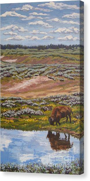 Canvas Print featuring the painting Yellowstone Reflections by Erin Fickert-Rowland