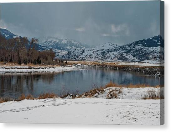 Yellowstone River In Light Snow Canvas Print