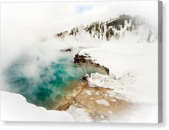 Yellowstone Thermals Canvas Print by Melody Watson