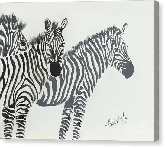 Zebras Canvas Print - Yin And Yang Triptych Black On White by Mohamed Hirji