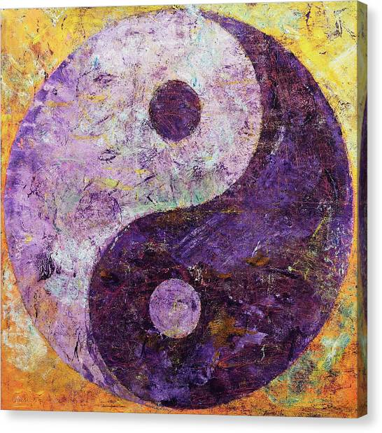 Philosophy Canvas Print - Purple Yin Yang by Michael Creese