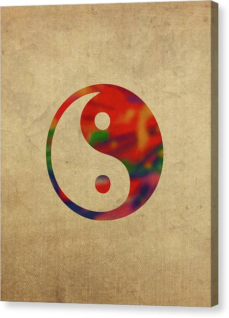 Yin Yang Canvas Print - Yin Yang Symbol In Watercolor by Design Turnpike
