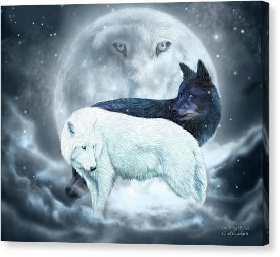 Wolf Moon Canvas Print - Yin Yang Wolves by Carol Cavalaris