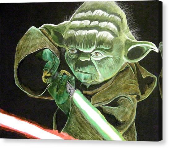 Yoda Canvas Print - Yoda Fights by Jacob Logan